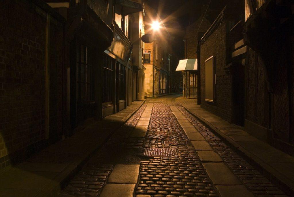 A mysterious dark Victorian street